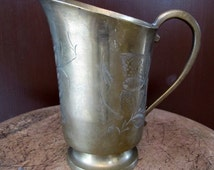 Antique Brass Engraved Pitcher, Antique Brass Jar, Made in India Pitcher, Antique Brass Pitcher