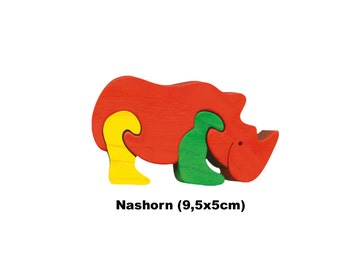 Mini Puzzle  Rhino / Handmade / Animals / Wooden toys / Zoo / Africa / Waldorf / Montessori