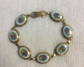Lenox China Autumn Jewelry Bracelet 14K GF, 1980's, Rare, Enameled, Charms Free Shipping SJ-8