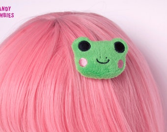 Green Frog - fluffy hairclip hairpuff - embroidered on soft minky fleece