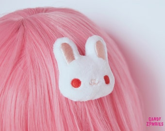 White albino rabbit bunny - fluffy hairclip hairpuff - embroidered on soft minky fleece