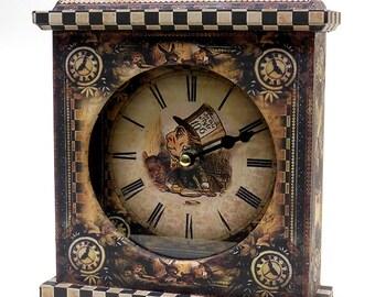 Mad Hatter Clock. Steampunk Clock. Mad Hatter. Unique Clock. Fairy Tale Clock. Unusual Clock. Wonderland Clock. Carriage Clock. Mantel Clock