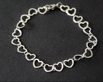 Heart bracelet, stainless steel bracelet, arm jewellery, gift, good luck charm, bracelet