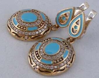 very beautiful SILVER earrings with blue quartz and zircoon with bronze accents #s5*** FREE SHIPPING worldwide****