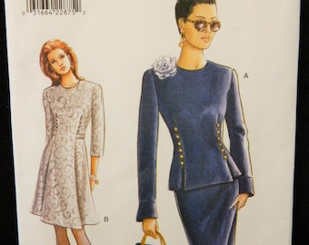Vintage 90s Very Easy Vogue Career Dress Sewing Pattern #9382 Uncut Size 8-10-12