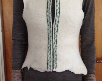 Felted vest with embroidery