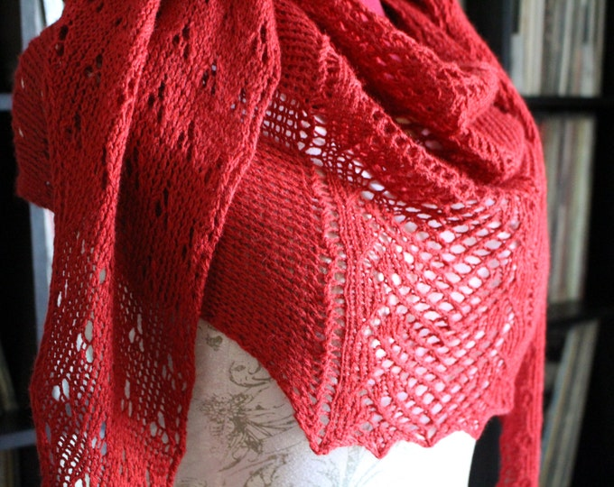 Instant download Knitting Pattern - Shawl - Candy Apple