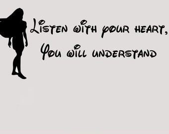 Pocahontas listen with your heart wall decal