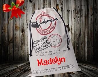 Santa Sack. Personalized, Christmas Stocking, Santa bag, Christmas Bag, Add Your Child's Name