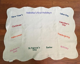 Milestone Blanket with Months/Years and Holidays