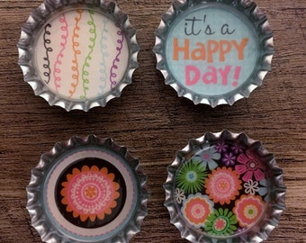 It's A Happy Day bottle cap magnets refrigerator magnets, party favors