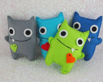 Boys Felt Mini Monsters, Adopt A Monster, Monster Party, Felt Monsters, Monster Plushie, Monster Themed Party, Monster Party (Set of 4)