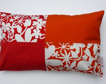 Red / Orange Handmade Decorative Pillow Cover/Case, Flowery abstract design pillow cover, Spring/Summer - Unique - COLLECTION EDEN
