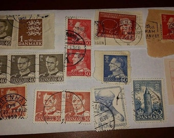Vintage Used Danmark Postage Stamps, Lot 2