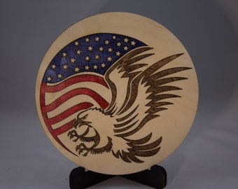 American Flag and Eagle Plaque, USA, 4th of July, Patriotic, Wood