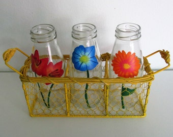 Hand-Painted Decorative Bottles featuring Colorful Flowers, Yellow carrier included - complete set