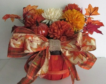 Basket full of silk Autumn Flowers and Leaves Centerpiece, featuring a Handmade Bow and Pumpkin