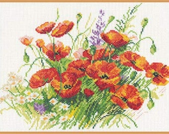 "Cross Stitch Kit ""Poppies Flowers"" ALISA"