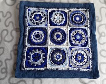 "Crochet Cushion cover ""Circles of the Sun"" 40 x 40 cm"
