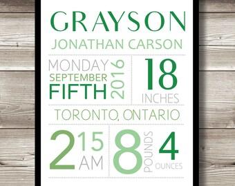 Birth Print for Nursery; birth information; birth stats details; new baby; nursery decor; nursery wall art