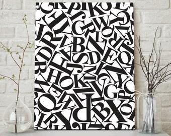 Black and White Alphabet, Abstract Alphabet, Alphabet Art, Modern Alphabet Print, Modern Wall Print, Contemporary Alphabet, Alphabet Nursery