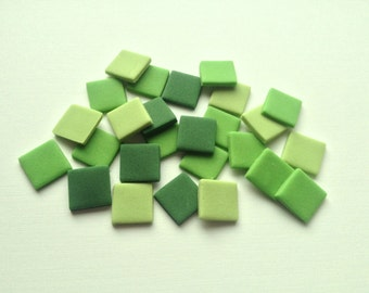 100 Green Mix Edible Minecraft Style Squares pixel cake decorations - 1.3cm