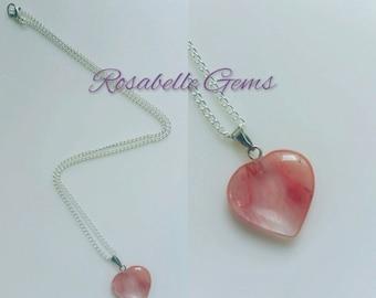 50% SALE, Cherry Quartz, Necklace, Heart Pendant, Gemstone Jewelry, Cherry, Quartz, Cherry Quartz Necklace, Heart Necklace, Gift For Her