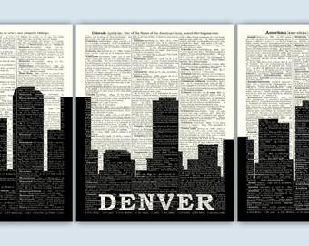 Denver Skyline Triptych, Denver Art Print, Denver Decor, Denver Wall Art, Denver Poster, Denver Gift, Set of 3 Prints