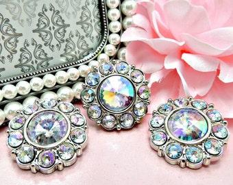 Wholesale AB Iridescent Rhinestone Buttons Acrylic Rhinestone Buttons Diy Embellishments Wedding Accents Coat Fashion 25mm 2997 14R