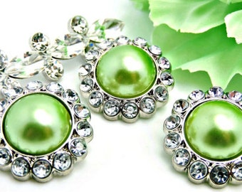 LIME GREEN Rhinestone AcrylicPearl Button W/ Clear Surrounding Rhinestones Button Wedding Garment Buttons Button Bouquet 26mm 3185 51P 2R
