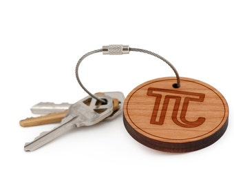 Pi Keychain, Wood Keychain, Custom Keychain, Gift For Him or Her, Wedding Gifts, Groomsman Gifts, and Personalized