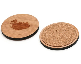 Iceland Wooden Coasters Set of 4, Gifts For Him, Wedding Gifts, Groomsman Gifts, and Personalized