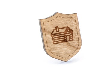 Log Cabin Lapel Pin, Wooden Pin, Wooden Lapel, Gift For Him or Her, Wedding Gifts, Groomsman Gifts, and Personalized