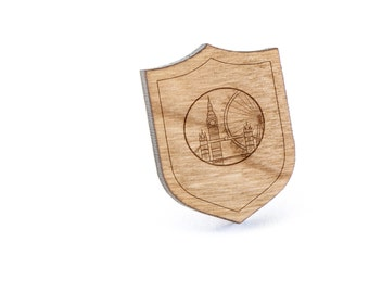 London Skyline Lapel Pin, Wooden Pin, Wooden Lapel, Gift For Him or Her, Wedding Gifts, Groomsman Gifts, and Personalized