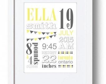 Customized Birth Poster// Birth Announcement Wall Art Print // Baby's Nursery Announcment Print // Baby Gift // Yellow Gray