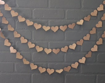 Bachelorette Party Decorations, Craft Paper Red Heart Wedding Garland, Rustic Hearts Bridal Shower Photo Backdrop,  Baby  Bunting Banner