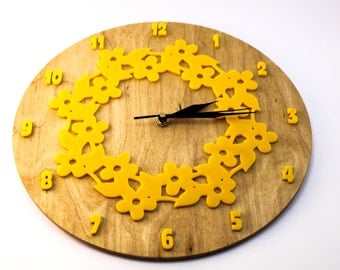 Wall clock, wall clock with acryl decors, gift clock, floral themed