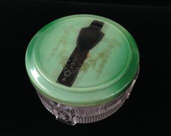 Art Deco Powder Jar- Vintage Cold Cream Jar- Vintage Vanity- Dressing Room Jar- Boudoir- Vintage Glass Jar With Lid
