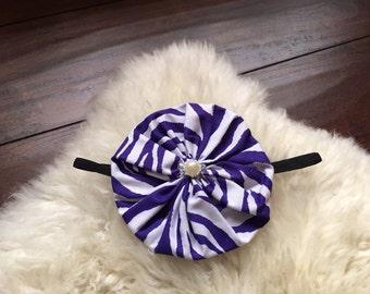 Purple zebra printed fabric flower black elastic headband