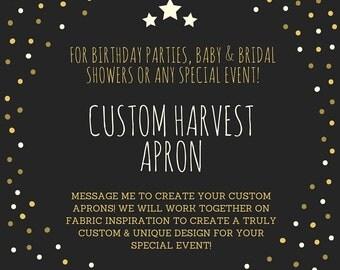 Custom Harvest Apron, Custom Gathering Apron, Bridal Shower Gift, Designer Apron, Favor Apron, Multi-Use Apron, Craft Apron, Farm Apron