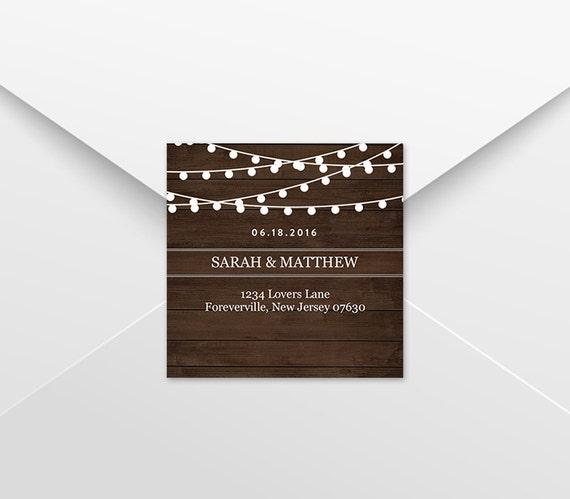 return address label template rustic wood string lights diy