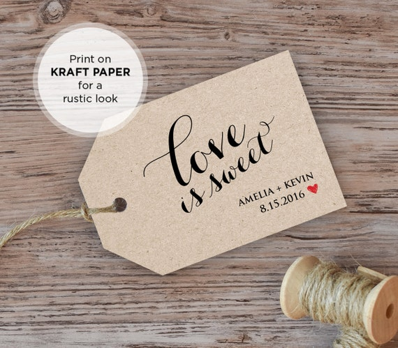 Wedding Favor Tag Template, Love is Sweet Tag, Printable Wedding Tag ...