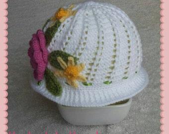 Handmade crochet Panama cloche white sun hat girls flowers beads