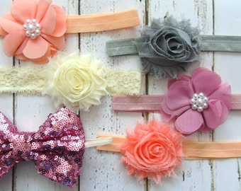 Shabby Chic Baby Headband Set, Baby Hair Bows, Baby Girl Headbands, Baby Bows, Baby Headwraps Set, Baby Girl Bows, Baby Headbands, Hair Band