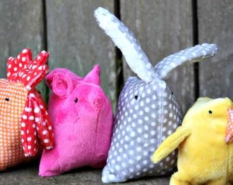 Dog Toy, Squeaker Toy, Stuffed Dog Toy, Barnyard Buddies, Chicken, Bunny, Pig, Duck, aDOGable Essentials