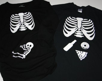 MATERNITY HALLOWEEN top Baby XRAY skeleton pregancy birth announcement baby bump shirt Dad dad's mom mom's family  boy or girl