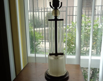 ART DECO Table Lamp GEOMETRIC  brass Rewired 1930s rods frosted octsgon glass Ship Worldwide