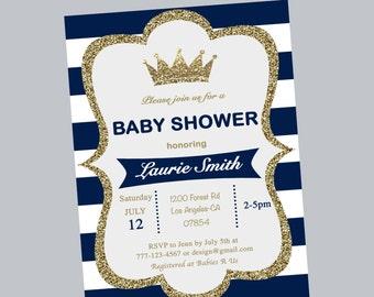 blue stripe prince baby shower invitation, prince crown boy shower, prince crown baby shower invites, blue and white baby shower invites