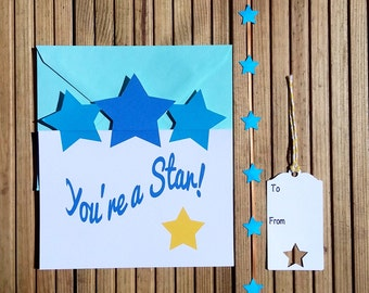 greetings card set, your a star card, matching tag and ribbon