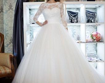 Ball gown wedding dress, Milana wedding dress, puffy wedding dress, wedding gown, long sleeves wedding dress, close wedding dress